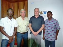 De gauche à droite, Joêl Ouédraogo, Roger Demeure, Alain Dutranoit, et frère Camille Lagemwaré.